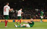 10 September 2019; Scott Hogan of Republic of Ireland reacts after missing a goal chance during the 3 International Friendly match between Republic of Ireland and Bulgaria at Aviva Stadium, Dublin. Photo by Eóin Noonan/Sportsfile