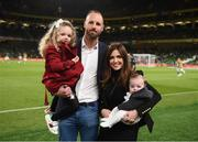10 September 2019; Former Republic of Ireland international David Meyler with his wife Cally, daughter Alanna and son Brody during half time of the 3 International Friendly match between Republic of Ireland and Bulgaria at Aviva Stadium, Dublin. Photo by Stephen McCarthy/Sportsfile