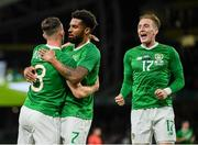 10 September 2019; Alan Browne of Republic of Ireland celebrates with team-mates Cyrus Christie, right, and Ronan Curtis after scoring his side's first goal during the 3 International Friendly match between Republic of Ireland and Bulgaria at Aviva Stadium, Dublin. Photo by Stephen McCarthy/Sportsfile