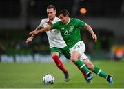 10 September 2019; Josh Cullen of Republic of Ireland in action against Nikolay Dimitrov of Bulgaria during the 3 International Friendly match between Republic of Ireland and Bulgaria at Aviva Stadium, Dublin. Photo by Seb Daly/Sportsfile
