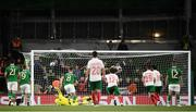 10 September 2019; Mark Travers of Republic of Ireland is beaten by Ivelin Popov of Bulgaria, 10, to give Bulgaria their first goal during the 3 International Friendly match between Republic of Ireland and Bulgaria at Aviva Stadium, Dublin. Photo by Stephen McCarthy/Sportsfile