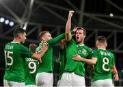 10 September 2019; Kevin Long of Republic of Ireland, second right, celebrates with team-mates after scoring his side's second goal during the 3 International Friendly match between Republic of Ireland and Bulgaria at Aviva Stadium, Dublin. Photo by Seb Daly/Sportsfile
