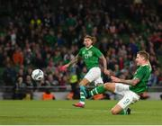 10 September 2019; James Collins of Republic of Ireland shoots to score his side's third goal during the 3 International Friendly match between Republic of Ireland and Bulgaria at Aviva Stadium, Dublin. Photo by Seb Daly/Sportsfile