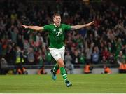 10 September 2019; James Collins of Republic of Ireland celebrates after scoring his side's third goal during the 3 International Friendly match between Republic of Ireland and Bulgaria at Aviva Stadium, Dublin. Photo by Seb Daly/Sportsfile