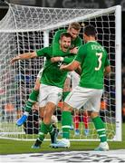 10 September 2019; James Collins of Republic of Ireland, centre, is congratulated by team-mates James McClean, behind, and Enda Stevens, after scoring his side's third goal during the 3 International Friendly match between Republic of Ireland and Bulgaria at Aviva Stadium, Dublin. Photo by Seb Daly/Sportsfile