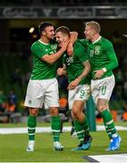 10 September 2019; James Collins of Republic of Ireland, centre, is congratulated by team-mates Enda Stevens, left, and James McClean after scoring his side's third goal during the 3 International Friendly match between Republic of Ireland and Bulgaria at Aviva Stadium, Dublin. Photo by Seb Daly/Sportsfile