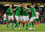 10 September 2019; Kevin Long of Republic of Ireland, left, celebrates with team-mates James Collins and Jack Byrne after scoring his side's second goal during the 3 International Friendly match between Republic of Ireland and Bulgaria at Aviva Stadium, Dublin. Photo by Seb Daly/Sportsfile