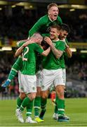 10 September 2019; Kevin Long of Republic of Ireland, centre, celebrates with team-mates Jack Byrne, Ronan Curtis, James Collins and John Egan after scoring his side's second goal during the 3 International Friendly match between Republic of Ireland and Bulgaria at Aviva Stadium, Dublin. Photo by Seb Daly/Sportsfile