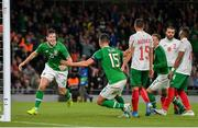 10 September 2019; Kevin Long of Republic of Ireland, left, celebrates after scoring his side's second goal during the 3 International Friendly match between Republic of Ireland and Bulgaria at Aviva Stadium, Dublin. Photo by Seb Daly/Sportsfile