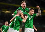 10 September 2019; Kevin Long of Republic of Ireland, centre, celebrates with team-mates Jack Byrne, Ronan Curtis and James Collins after scoring his side's second goal during the 3 International Friendly match between Republic of Ireland and Bulgaria at Aviva Stadium, Dublin. Photo by Seb Daly/Sportsfile