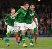 10 September 2019; Kevin Long of Republic of Ireland, left, celebrates with team-mate John Egan after scoring his side's second goal during the 3 International Friendly match between Republic of Ireland and Bulgaria at Aviva Stadium, Dublin. Photo by Seb Daly/Sportsfile