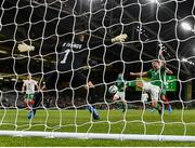 10 September 2019; James Collins of Republic of Ireland shoots to score his side's third goal past Hristo Ivanov of Bulgaria during the 3 International Friendly match between Republic of Ireland and Bulgaria at Aviva Stadium, Dublin. Photo by Seb Daly/Sportsfile