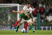 10 September 2019; James Collins of Republic of Ireland in action against Daniel Mladenov of Bulgaria during the 3 International Friendly match between Republic of Ireland and Bulgaria at Aviva Stadium, Dublin. Photo by Eóin Noonan/Sportsfile