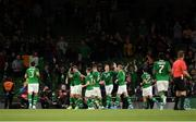 10 September 2019; Kevin Long of Republic of Ireland celebrates with team-mates after scoring his side's second goal during the 3 International Friendly match between Republic of Ireland and Bulgaria at Aviva Stadium, Dublin. Photo by Eóin Noonan/Sportsfile