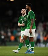 10 September 2019; Jack Byrne of Republic of Ireland, left, with Cyrus Christie following the 3 International Friendly match between Republic of Ireland and Bulgaria at Aviva Stadium, Dublin. Photo by Eóin Noonan/Sportsfile