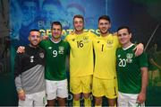 10 September 2019; Republic of Ireland debutants, from left, Jack Byrne, James Collins, Mark Travers, Kieran O'Hara and Josh Cullen following the 3 International Friendly match between Republic of Ireland and Bulgaria at Aviva Stadium, Dublin. Photo by Stephen McCarthy/Sportsfile