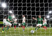10 September 2019; Kevin Long of Republic of Ireland celebrates with team-mate John Egan after scoring his side's second goal during the 3 International Friendly match between Republic of Ireland and Bulgaria at Aviva Stadium, Dublin. Photo by Stephen McCarthy/Sportsfile
