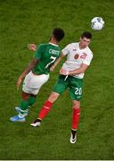10 September 2019; Cyrus Christie of Republic of Ireland in action against Ivan Goranov of Bulgaria during the 3 International Friendly match between Republic of Ireland and Bulgaria at Aviva Stadium, Dublin. Photo by Ben McShane/Sportsfile