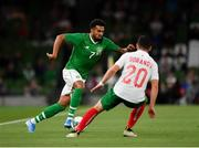 10 September 2019; Cyrus Christie of Republic of Ireland in action against Ivan Goranov of Bulgaria during the 3 International Friendly match between Republic of Ireland and Bulgaria at Aviva Stadium, Dublin. Photo by Seb Daly/Sportsfile