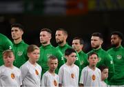 10 September 2019; Republic of Ireland players, from left, Callum O'Dowda, Alan Browne, Conor Hourihane, Josh Cullen, Scott Hogan and Cyrus Christie during the national anthem prior to the 3 International Friendly match between Republic of Ireland and Bulgaria at Aviva Stadium, Dublin. Photo by Seb Daly/Sportsfile