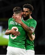 10 September 2019; Alan Browne is congratulated by his Republic of Ireland team-mate Cyrus Christie, right, after scoring his side's opening goal during the 3 International Friendly match between Republic of Ireland and Bulgaria at Aviva Stadium, Lansdowne Road in Dublin. Photo by Stephen McCarthy/Sportsfile