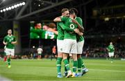 10 September 2019; Alan Browne is congratulated by his Republic of Ireland team-mates Ronan Curtis, left, and Cyrus Christie, right, after scoring his side's opening goal during the 3 International Friendly match between Republic of Ireland and Bulgaria at Aviva Stadium, Lansdowne Road in Dublin. Photo by Stephen McCarthy/Sportsfile