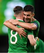 10 September 2019; Alan Browne is congratulated by his Republic of Ireland team-mate John Egan after scoring his side's opening goal during the 3 International Friendly match between Republic of Ireland and Bulgaria at Aviva Stadium, Lansdowne Road in Dublin. Photo by Stephen McCarthy/Sportsfile