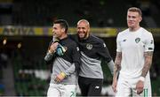 10 September 2019; Seamus Coleman, left, Darren Randolph and James McClean, right, of Republic of Ireland prior to the 3 International Friendly match between Republic of Ireland and Bulgaria at Aviva Stadium, Lansdowne Road in Dublin. Photo by Stephen McCarthy/Sportsfile