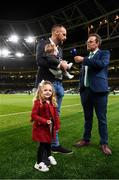 10 September 2019; Former Republic of Ireland internatioal David Meyler with his daughter Alanna and son Brody is interviewed by Daniel Kelly at half-time of the 3 International Friendly match between Republic of Ireland and Bulgaria at Aviva Stadium, Lansdowne Road in Dublin. Photo by Stephen McCarthy/Sportsfile