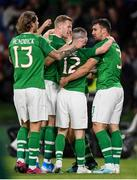 10 September 2019; Republic of Ireland players, from left, Jeff Hendrick, James McClean, Jack Byrne and Enda Stevens celebrate after James Collins scored their thrid goal during the 3 International Friendly match between Republic of Ireland and Bulgaria at Aviva Stadium, Lansdowne Road in Dublin. Photo by Stephen McCarthy/Sportsfile
