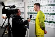 10 September 2019; Mark Travers of Republic of Ireland is interviewed by FAI Director of Communications Cathal Dervan following the 3 International Friendly match between Republic of Ireland and Bulgaria at Aviva Stadium, Lansdowne Road in Dublin. Photo by Stephen McCarthy/Sportsfile