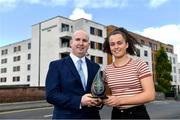 11 September 2019; Emma Duggan of Meath is presented with The Croke Park / LGFA Player of the Month award for August by Alan Smullen, General Manager, The Croke Park, at The Croke Park in Jones Road, Dublin. Emma was in sparkling form for TG4 All-Ireland Finalists Meath during the month of August, scoring 3-2 against Wexford in the All-Ireland quarter-final, before contributing 1-5 in the semi-final victory over Roscommon. Emma and Meath are preparing for next Sunday's Final against Tipperary at Croke Park. Photo by Piaras Ó Mídheach/Sportsfile
