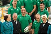 11 September 2019; Ireland players, from left, Keith Earls, Rory Best and Cian Healy and head coach Joe Schmidt pose for a photo prior to the team's departure from Dublin Airport in advance of the Rugby World Cup in Japan. Photo by David Fitzgerald/Sportsfile