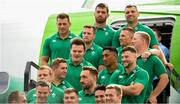 11 September 2019; Ireland players prepare for a team photo prior to the team's departure from Dublin Airport in advance of the Rugby World Cup in Japan. Photo by David Fitzgerald/Sportsfile