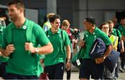 11 September 2019; Ireland players Bundee Aki, right, and Joey Carbery make their way out to the plane prior to the team's departure from Dublin Airport in advance of the Rugby World Cup in Japan. Photo by David Fitzgerald/Sportsfile