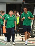 11 September 2019; Ireland players, Andrew Conway, left, and Jean Kleyn make their way out to the plane prior to the team's departure from Dublin Airport in advance of the Rugby World Cup in Japan. Photo by David Fitzgerald/Sportsfile