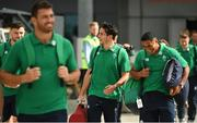 11 September 2019; Ireland players, from right, Bundee Aki, Joey Carbery and Robbie Henshaw make their way out to the plane prior to the team's departure from Dublin Airport in advance of the Rugby World Cup in Japan. Photo by David Fitzgerald/Sportsfile