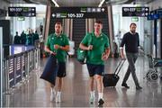 11 September 2019; Ireland players Jack Carty, left, and Peter O'Mahony arrive to the departure gate prior to the team's departure from Dublin Airport in advance of the Rugby World Cup in Japan. Photo by David Fitzgerald/Sportsfile