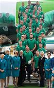 11 September 2019; Ireland players and head coach Joe Schmidt pose for a photo prior to the team's departure from Dublin Airport in advance of the Rugby World Cup in Japan. Photo by David Fitzgerald/Sportsfile