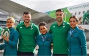 11 September 2019; Ireland players Robbie Henshaw, left, and Conor Murray pose for a photo with air hostesses, from left, Liann Stapleton, Shannen McDonnell and Sophie Warren prior to the team's departure from Dublin Airport in advance of the Rugby World Cup in Japan. Photo by David Fitzgerald/Sportsfile