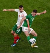 10 September 2019; Alan Browne of Republic of Ireland and Daniel Mladenov of Bulgaria during the 3 International Friendly match between Republic of Ireland and Bulgaria at Aviva Stadium, Dublin. Photo by Ben McShane/Sportsfile