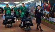 12 September 2019; Jonathan Sexton, centre and Garry Ringrose, left, of Ireland on the squad's arrival in Hanada Airport in Tokyo ahead of the 2019 Rugby World Cup in Japan. Photo by Brendan Moran/Sportsfile