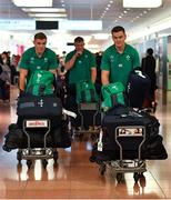 12 September 2019; Jonathan Sexton, right, and Garry Ringrose, left, of Ireland on the squad's arrival in Hanada Airport in Tokyo ahead of the 2019 Rugby World Cup in Japan. Photo by Brendan Moran/Sportsfile