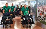 12 September 2019; Rhys Ruddock, left, and Keith Earls of Ireland on the squad's arrival in Hanada Airport in Tokyo ahead of the 2019 Rugby World Cup in Japan. Photo by Brendan Moran/Sportsfile