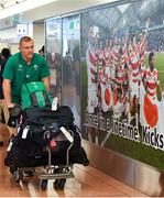12 September 2019; Keith Earls of Ireland on the squad's arrival in Hanada Airport in Tokyo ahead of the 2019 Rugby World Cup in Japan. Photo by Brendan Moran/Sportsfile