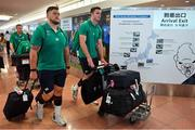 12 September 2019; Andrew Porter, left, and James Ryan of Ireland on the squad's arrival in Hanada Airport in Tokyo ahead of the 2019 Rugby World Cup in Japan. Photo by Brendan Moran/Sportsfile