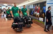 12 September 2019; Jack Conan, left, and Josh van der Flier of Ireland on the squad's arrival in Hanada Airport in Tokyo ahead of the 2019 Rugby World Cup in Japan. Photo by Brendan Moran/Sportsfile