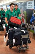12 September 2019; Ireland players Joey Carbery, left, and Jean Kleyn on the squad's arrival in Hanada Airport in Tokyo ahead of the 2019 Rugby World Cup in Japan. Photo by Brendan Moran/Sportsfile