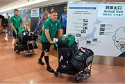 12 September 2019; Andrew Conway of Ireland and team-mate Conor Murray, left, on the squad's arrival in Hanada Airport in Tokyo ahead of the 2019 Rugby World Cup in Japan. Photo by Brendan Moran/Sportsfile
