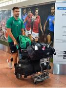 12 September 2019; Conor Murray of Ireland on the squad's arrival in Hanada Airport in Tokyo ahead of the 2019 Rugby World Cup in Japan. Photo by Brendan Moran/Sportsfile